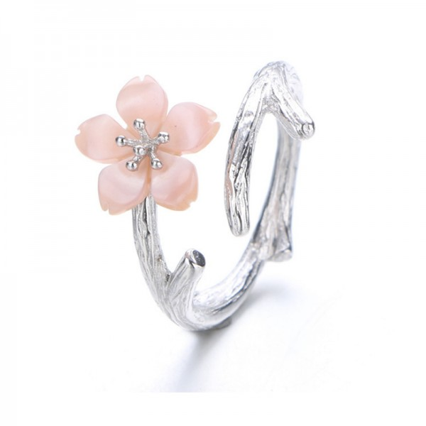 Pink Color Wind Cherry Hand Open Mouth Finger Rings For Women R-02PK image
