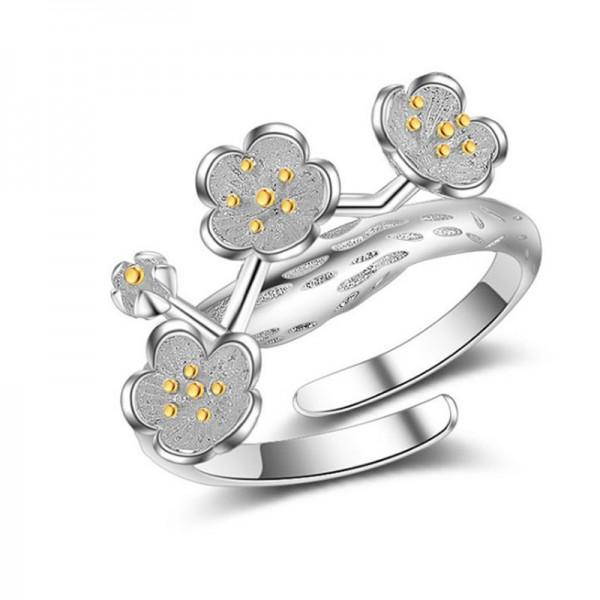 Silver Color Cherry Blossom Flower Modelling Finger Rings For Women image