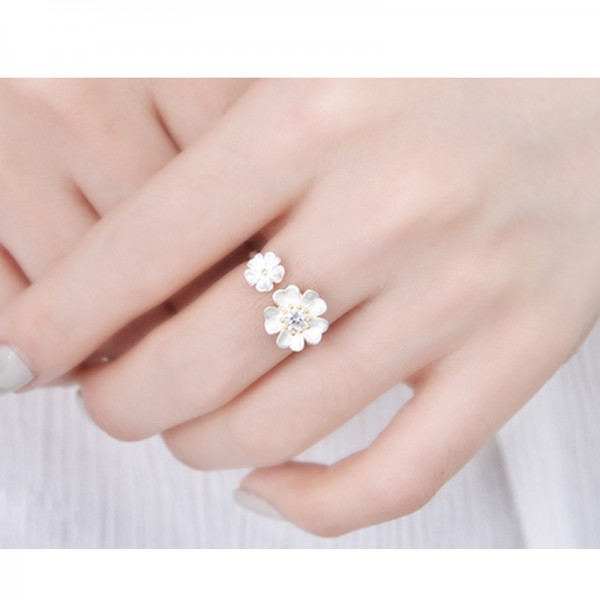 Silver Color Korean Fashion Flower Modelling Finger Rings For Women image