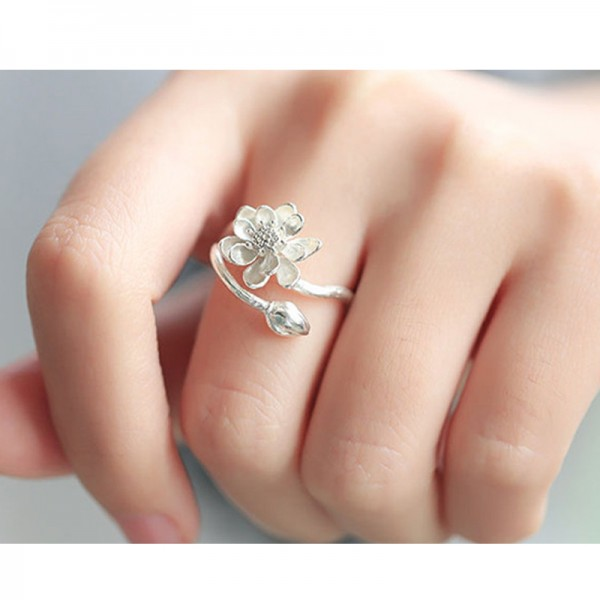Silver Color Opening Clear Fresh Simple Flower Finger Rings For Women R-03 image