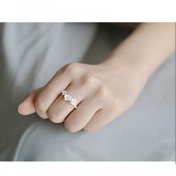 Silver Color Opening Creative Plum Blossom Handmade Rings For Women R-04 image