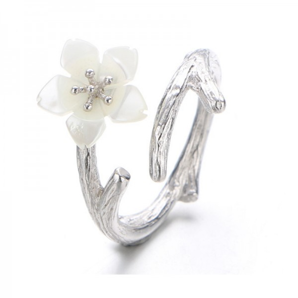 Silver Color Wind Cherry Hand Open Mouth Finger Rings For Women R-02S image