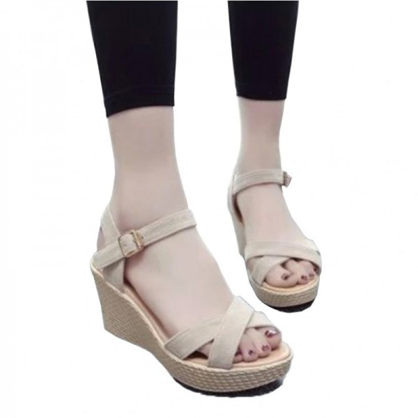 Cream Color Vintage High Heel Wedge Sandals For Women SH-34CR image