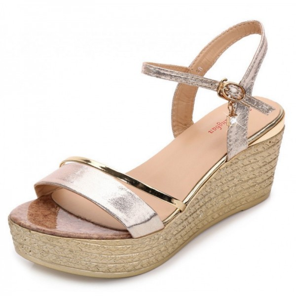 Gold Color Party Shining Wedge Sandals For Women SH-22G image