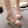 Gold Color Summer Fashion Biege Gold High Sandals For Women SH-39G image