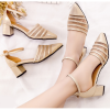 Gold Color Summer Splicing Mesh Pointed Sandals For Women SH-38G image