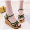 Green Color Fish Mouth Slope Thick Bottom Wedge Sandals For Women SH-42GN image