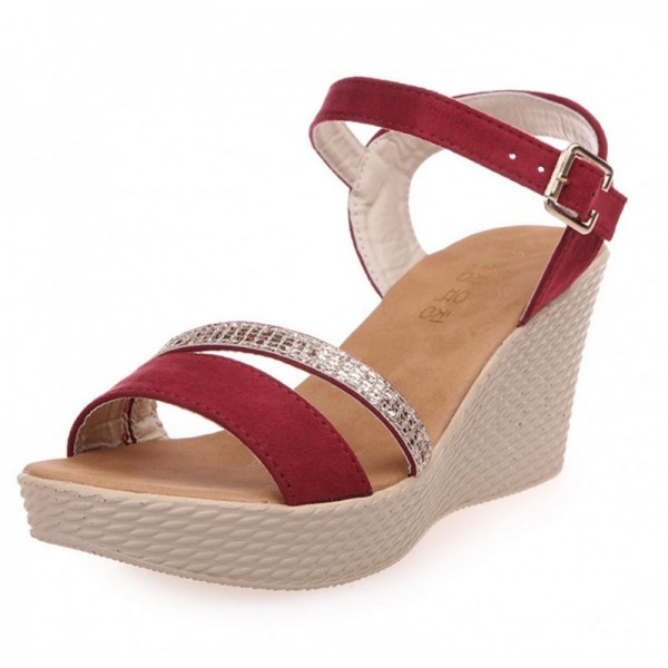 Red Color Buckle High Wedge Sandals For Women SH-26RD image