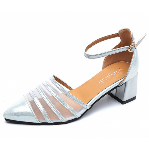 Silver Color Summer Splicing Mesh Pointed Sandals For Women SH-38S image