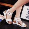 White Color Doubles Buckle Flat Bottomed Sandals For Women SH-24W image