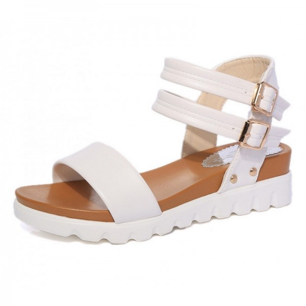 White Color Doubles Buckle Flat Bottomed Sandals For Women image