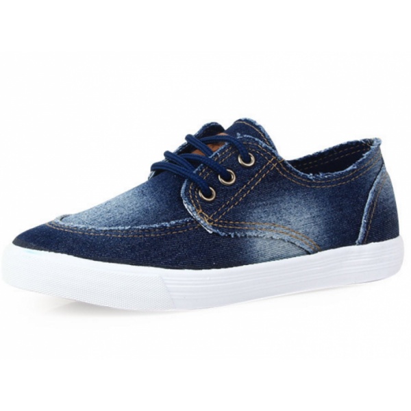Navy Blue Color Denim Canvas Sneaker For Women SH-13BL image