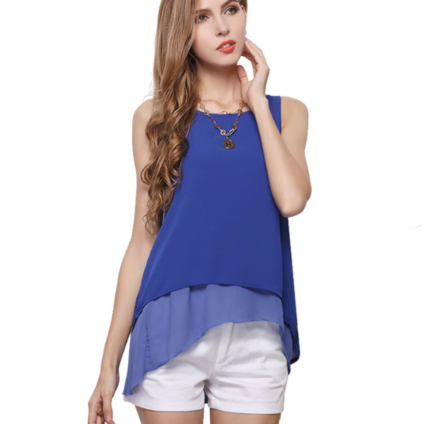 European Fashion Sleeveless Blue Irregular Double Chiffon Shirt For Women image