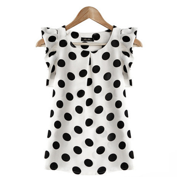 Europen Style White Color Sleeveless Round Collar Women's Chiffon Tops C-02W image