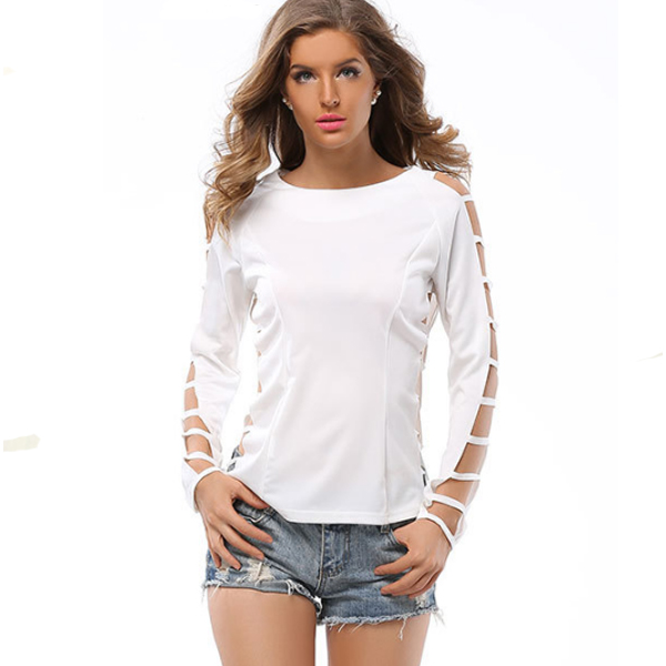 Grid Hole Blouse Long Sleeves Solid Color T Skirt For Womens C-33W image