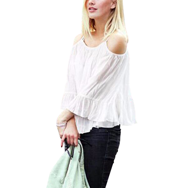 White Long Sleeves Lotus Leaf Strapless Shirt For Womens C-26W| image
