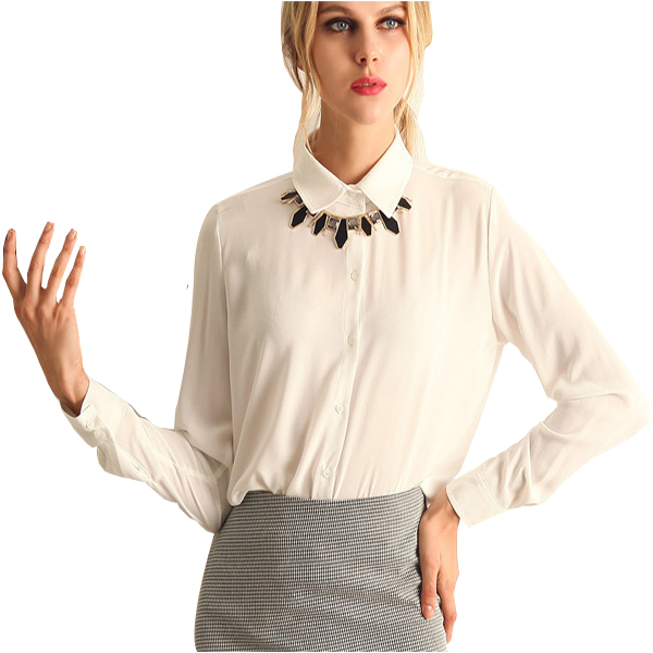 White Color Stripe Long Sleeve V Collar Womens Chiffon Shirt C-06W|image
