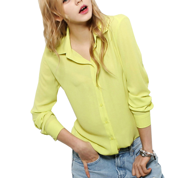 Yellow Long Sleeve V Collar Women's Chiffon Casual Shirt C-06Y|image