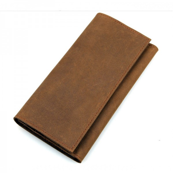 Brown Color Business Vertical Section Square Leather Wallet image