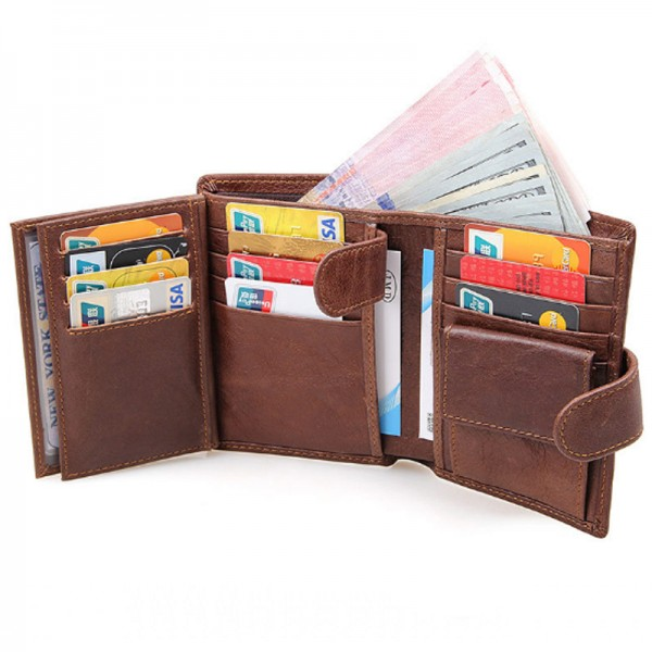 Brown Color Multi Card Compact Design Leather Wallets MW-03 image