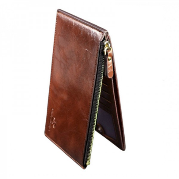 Brown Color Unisex Zipper Leather Card Wallets MW-05BR image