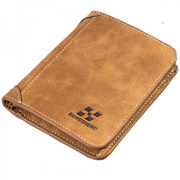 Brown Three Fold Vertical Money Multi Card Leather Wallets image