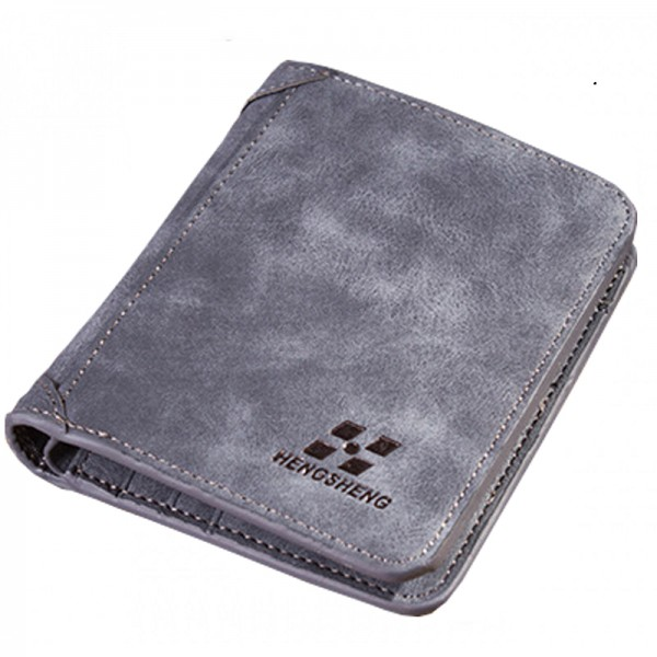 Dark Grey Three Fold Vertical Money Multi Card Leather Wallet image