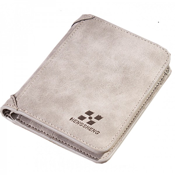 Grey Three Fold Vertical Money Multi Card Leather Wallet image